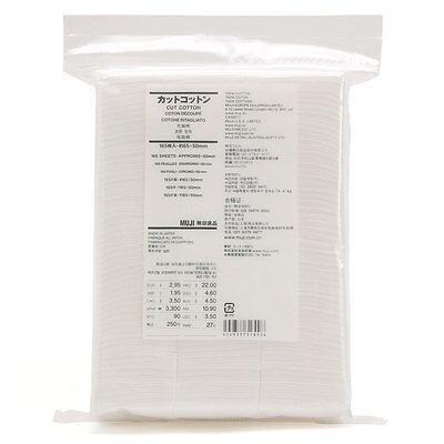 Muji Organic Facial Cut Cotton pad puff 165 sheets 65x50mm Made in Japan