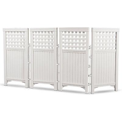 Suncast Outside Garden Yard 4 Panel Screen Enclosure Gated Fence, White FS4423
