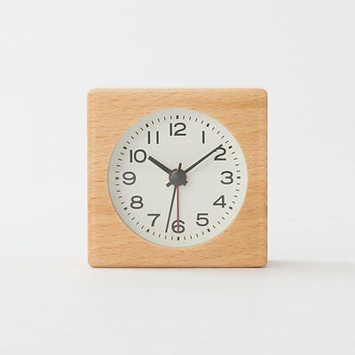 Muji Beechwood Clock with Alarm Function Made in Japan