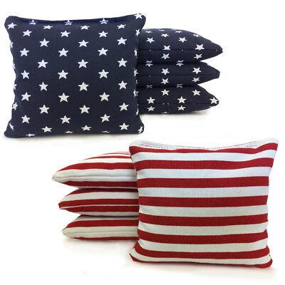 Stars And Stripes   8 Cornhole Bags American Flag Bags  W  Free Drawstring Tote