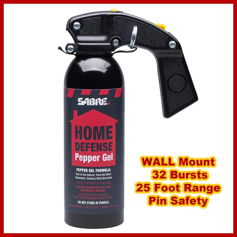 SABRE RED  Pepper Gel & WALL Mount Home Defense 32 Bursts 25 Ft Range EXP 10/26