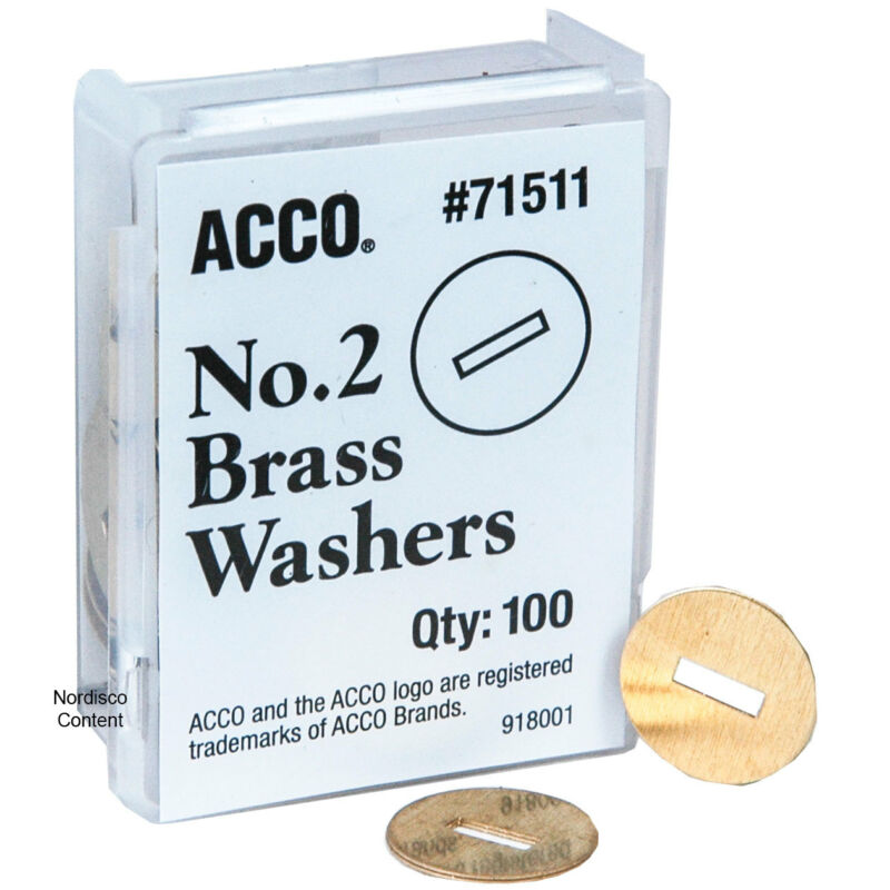 "ACCO 71511 No.2 Brass Washers, 1/2"" Diameter, Pack of 100"
