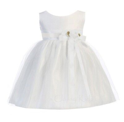 (Baby Flower Girls White Satin Tulle Dress Wedding Easter Party Christening 402)