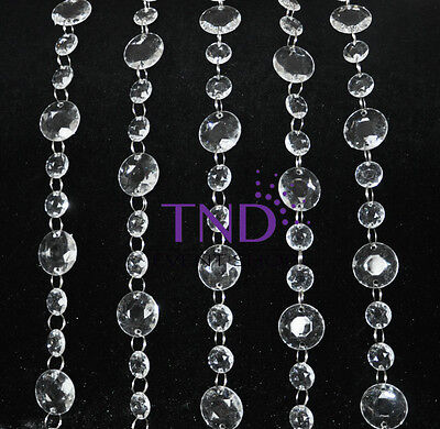 LARGE ROUND ACRYLIC CRYSTAL GARLAND STRAND CHAIN HANGING DIAMOND TREE DECOR