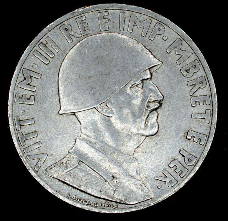 Albania 1 Lek 1939 R AU KM#31 1L Italy WWII Vittorio Emanuele III Magnetic