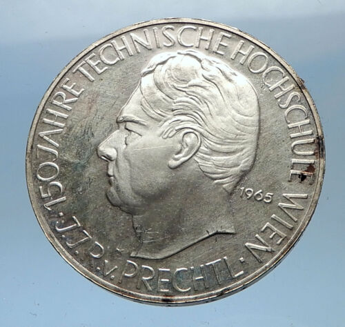 1965 AUSTRIA 150th Vienna Institute of Technology Silver Austrian Coin i68969