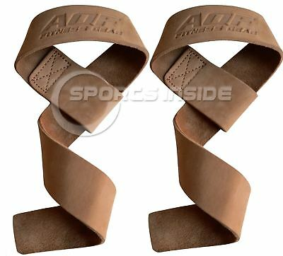 AQF Leather Weight Lifting Straps Pair For Barbell Bar WeightLifting Wrist Strap