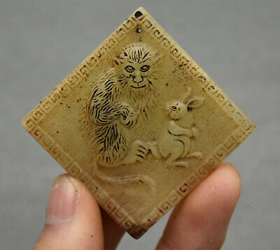 5CM China Hongshan Culture Old Jade Carving Animal Monkey Rabbit Amulet Pendant