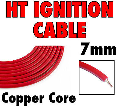HT Ignition Lead (Spark Plug) Cable Copper Core Twin Insulated RED PVC Coated