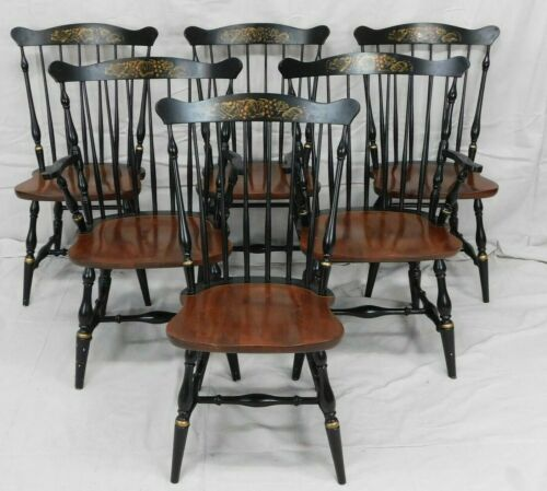 Set of 6 L. HITCHCOCK BLACK HARVEST FAN BACK WINDSOR DINING CHAIRS