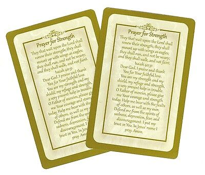 Prayer for Strength prayer card (Lot of 2 Laminated prayer cards