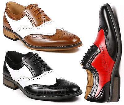 Perforated Wing Tip - Men's Two Tone Perforated Wing Tip Lace Up Fashion Oxford Dress Shoes