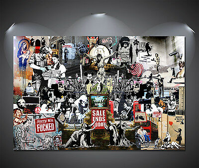 BANKSY TRIBUTE ALL GRAFFITI COLLAGE Poster A3//A4 Size Wall Art Print Decoration
