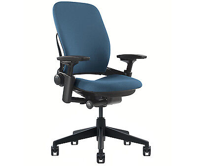 New Steelcase Leap Chair Adjustable V2 Buzz2 Blue Fabric Des