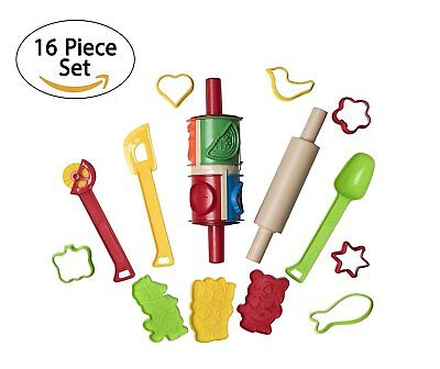 16 Piece Clay And Dough Modeling Tools Kit For Kids - Play Dough Tools