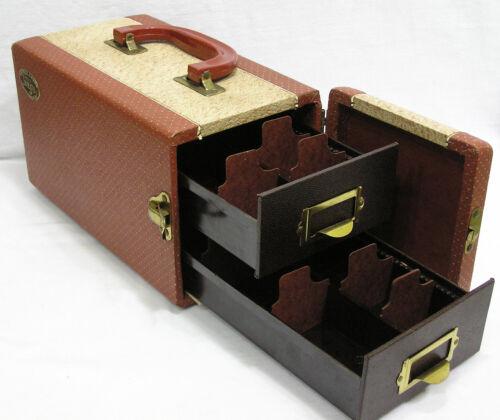 Vintage 1950s Barnett & Jaffe Handled Photo Slide Case w Cards Drawers NICE !
