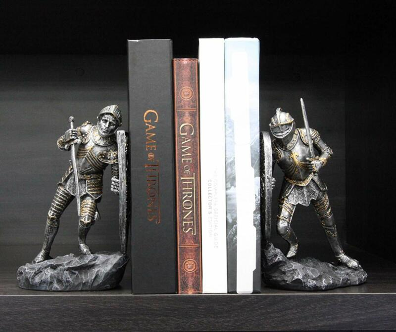 Ebros Dueling Crusader Knights with Giant Coat of Arms Shields Bookends Set
