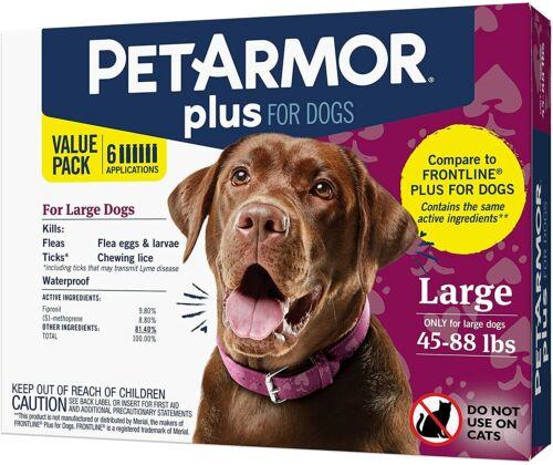 PetArmor Plus Flea & Tick Treatment for Large Dogs (45-88lb) Sealed, 6 Counts