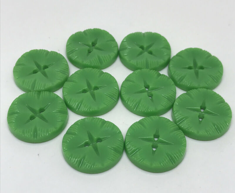 Vintage Green Retro BUTTONS lot set 10 Lucky Four Leaf Clover Irish St Patty Day