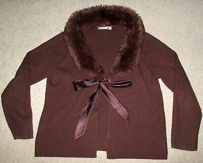 Womens Brown Removable Faux Fur Collar Tie Front SWEATER Croft & Barrow -
