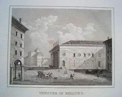 Belluno Belun Venetien Theater  Italien Italia echter  alter  Stahlstich 1842