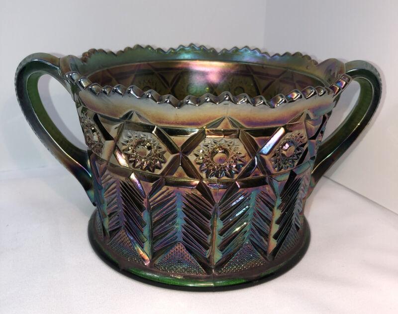 Vintage Carnival Glass  Inverted Feather Cambridge Glass Cracker Jar Iridescent