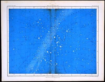 MAPS OF THE STARS #2 1856 Alex Johnston ANTIQUE CHART