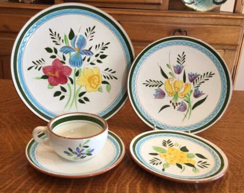 2 STANGL POTTERY COUNTRY GARDEN  PATTERN DINNER PLATES  HAND PAINTED - EXCELLENT