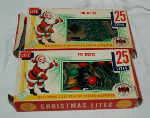 Set of 2 Vintage 25 String Christmas Tree Lites Light Sets Made in USA w/Boxes