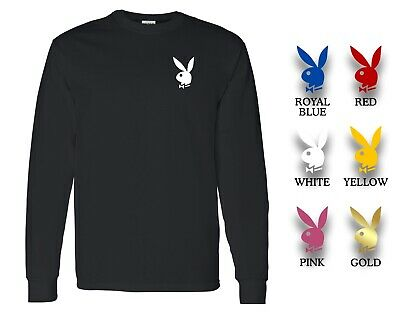 Playboy Bunny Custom Mens Black Long Sleeve T-Shirt Tee Choose Bunny Color (Black Long Sleeve T-shirt Tee)