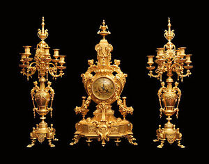 ANTIQUE-FRENCH-GOLD-PLATED-BRONZE-LOUIS-XVI-CLOCK-AND-CANDELABRA-1850-1899