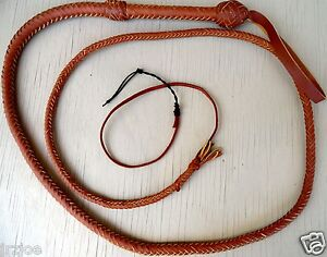 8 foot 8 plait Bullwhip Indiana Jones Stuntman Tan Leather Bull Whip Bullwhip