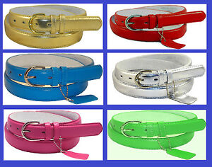 WOMEN-LADIES-Skinny-Leather-Belt-LEATHER-Silver-Buckle