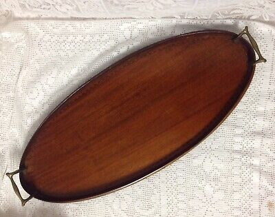 Victorian Mahogany Galleried Oval Drinks Tray With Brass Handles, Inlayed Detail