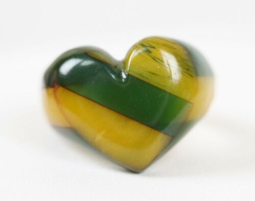 Vintage Two Color Striped Laminate Bakelite Prison Ring Sweetheart Carved Heart