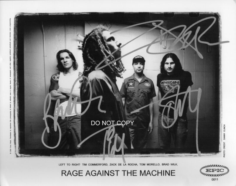 "Rage Against the Machine band Reprint Signed 8x10"" Photo RP ALL 4 Members"