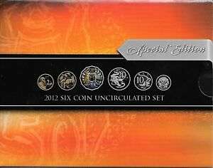 2012  RAM SET OF UNCIRCULATED COINS - INC THE COLOURED 50 CENT COIN