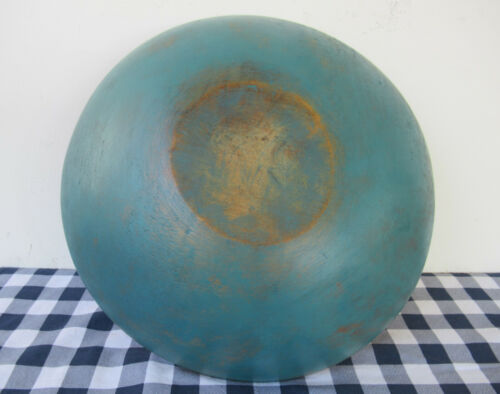"Antique Bowl Large 13-1/2"" Round Wood Vintage Primitive Country, Blue Paint"