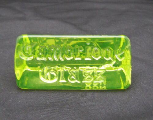Rare Cambridge Glass NCC Dealer Collector Display Sign Plaque Yellow Vaseline #2