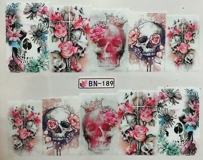 Nagelsticker Nail Art Aufkleber Tattoo Fingernägel Totenkopf Halloween Rosen