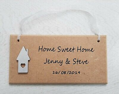 Personalised New Home Sweet Home Wooden Plaque Sign Moving In Gift Present First