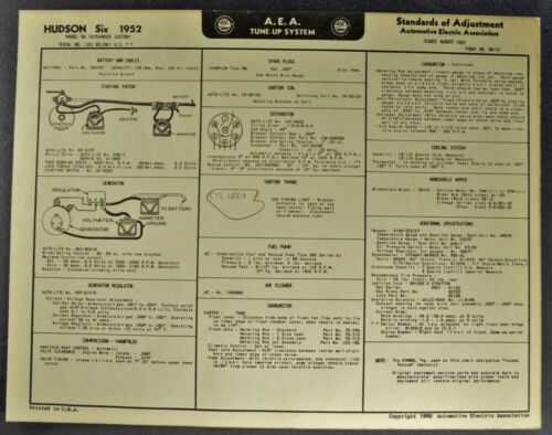 1952 Hudson Six Tune Up Chart Wiring Diagram Pacemaker Excellent Original 52