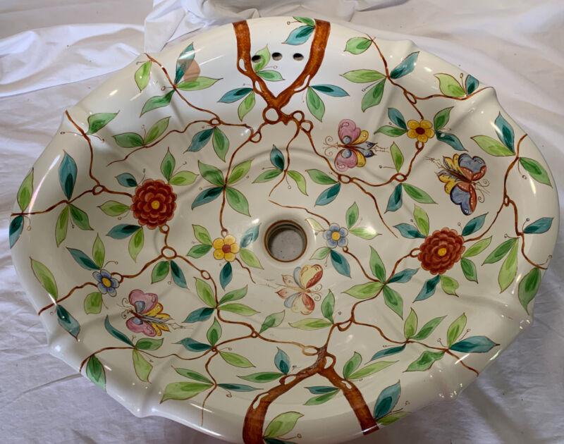 Sherle Wagner Sink~ Summer Garden Pattern,Roll Holder,Switch Cover,Soap Dish
