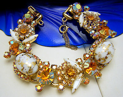 Vintage Juliana 5 Link Rhinestone Bracelet White Gilt Glass Topaz Rhinestones AB on Lookza
