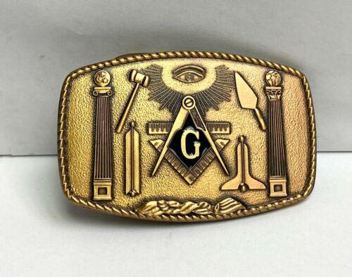 Vintage Masons Masonic Freemasons Lodge Bronze Harry Klitzner 1981 Belt Buckle