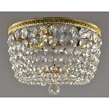 Vintage Chandelier Antique French Flush Mount Bronze Brass Crystal Glass