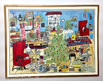 Unused Busy Home Life Cats Tree Vintage Xmas Card Burns West Germany Caspari ()