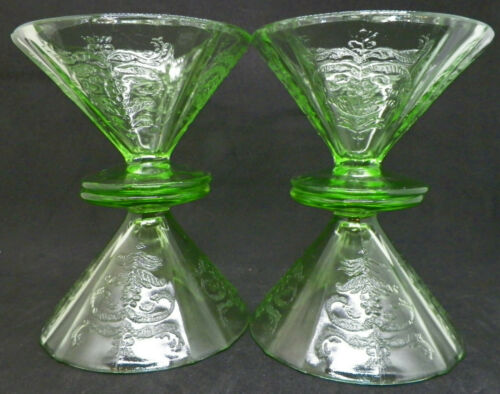 4 Federal Madrid Green Depression Glass Sherbet Glasses