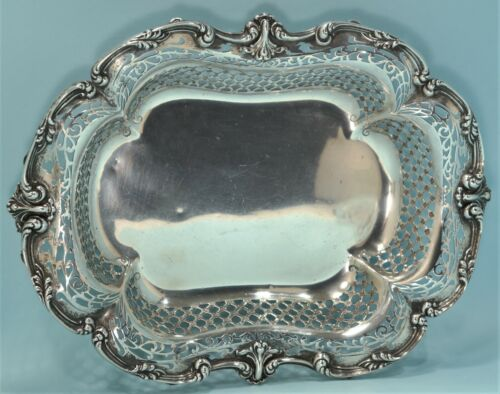Art Nouveau Sterling Silver Pierced Repousse Footed Basket Mauser Mfg. New York