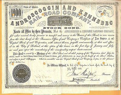 1853 Androscoggin & Kennebec Railroad Company RR Stock Bond